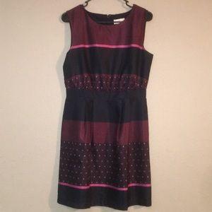 Red Black Ann Taylor Loft Size 2 Midi Dress